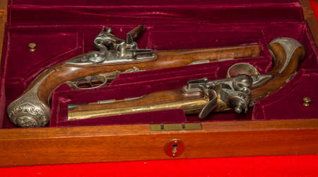 rendered: Rendered set of antique duelling pistols with case