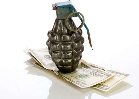 explosives: hand grenade money on a white background