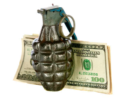 explosive sign: hand grenade money on a white background
