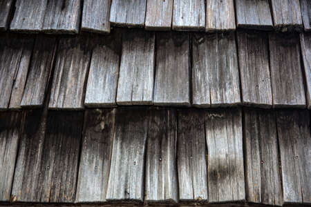 cedar shakes: Close up of Weathered Cedar Shingles on roof Stock Photo