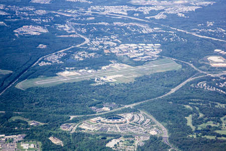 arial: Arial view of small airport in washington DC