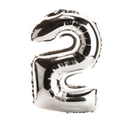 Chrome balloon font part of full set of numbers, number 2,Two Standard-Bild
