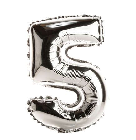 Chrome balloon font part of full set of numbers, number 5,five Standard-Bild