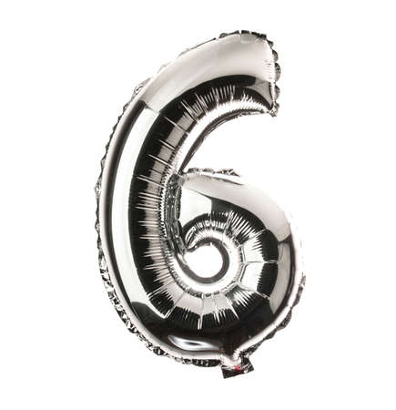 Chrome balloon font part of full set of numbers, number 6,six