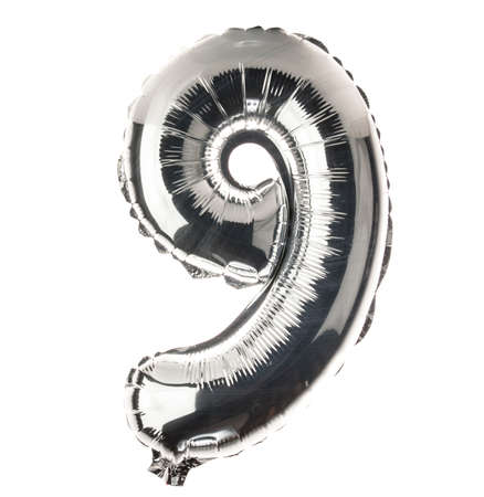 Chrome balloon font part of full set of numbers, number 9,nine photo