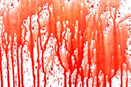 paint drips: Dripping blood isolated on white