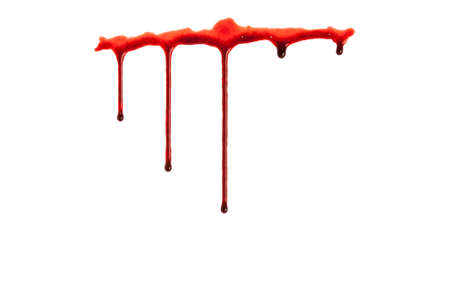 dribbling: Dripping blood isolated on white