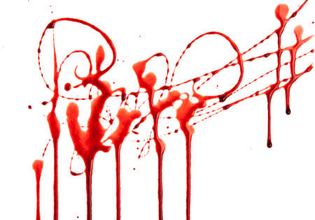 blood dripping: Dripping blood isolated on white