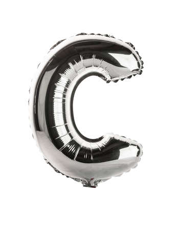 white letters: Chrome silver balloon font part of full set upper case letters, C Stock Photo