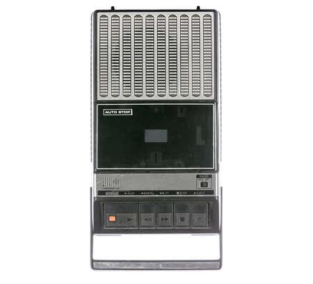 tape recorder: Reproductor de cintas de casete retra y grabador aislados en un blanco