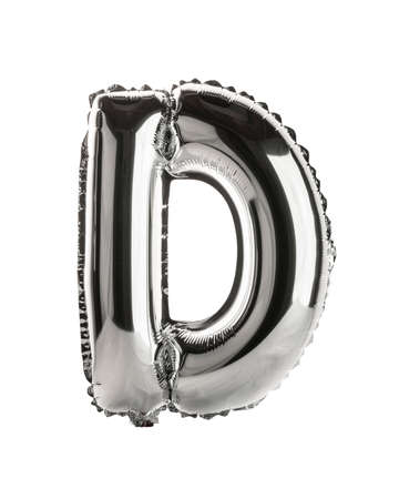 Chrome silver balloon font part of full set upper case letters, D Zdjęcie Seryjne