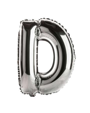 Chrome silver balloon font part of full set upper case letters, D Standard-Bild