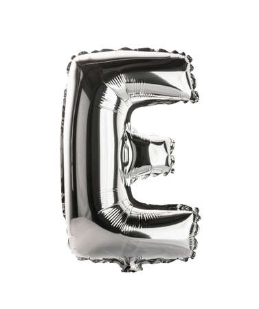 Chrome silver balloon font part of full set upper case letters, E