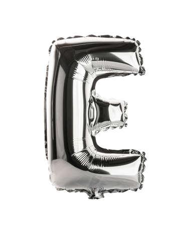 Chrome silver balloon font part of full set upper case letters, E