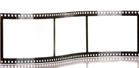 celluloid film: blank film strip isolated on white with reflection Stock Photo