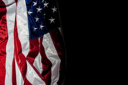 anthem: American Flag with black background for copy space Stock Photo