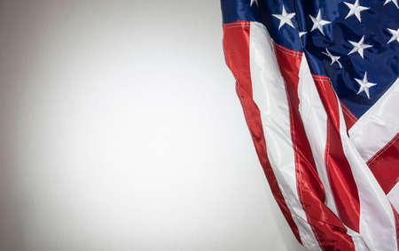 American Flag with white background for copy space