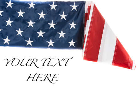 American Flag being folded with white background Stock Photo
