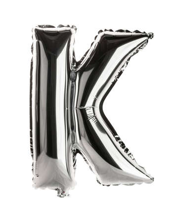 letter k: Chrome silver balloon font part of full set upper case letters, K