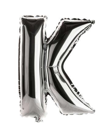 letter k: Chrome silver balloon font part of full set upper case letters, K