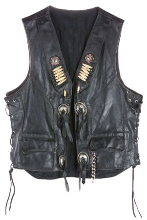 Vintage Leather biker jacket vest custom made open isolated on white