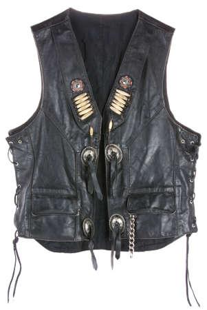 Vintage Leather biker jacket vest custom made open isolated on white