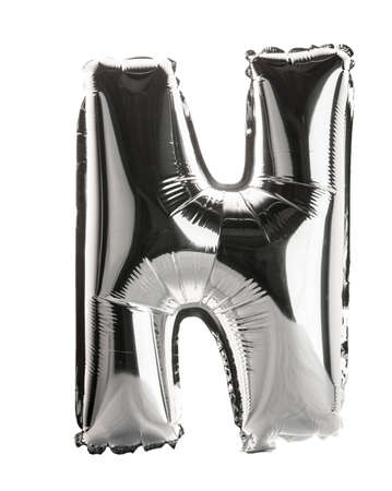 metallic letters: Chrome silver balloon font part of full set upper case letters, N Stock Photo