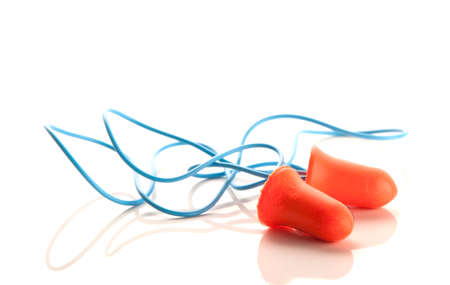 A pair of hearing protection ear plugs Stock Photo