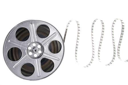 film editing: Movie film reel on white background
