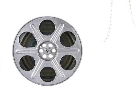 rollo pelicula: Bobina de película sobre fondo blanco