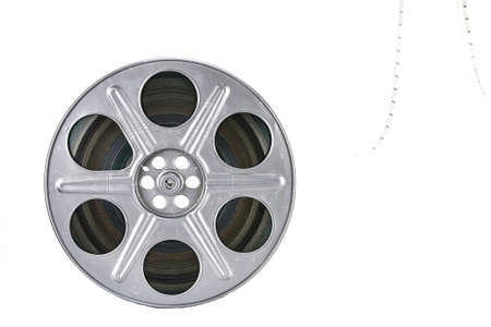 old movies: Movie film reel on white background