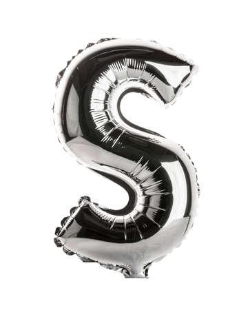 lettre s: Chrome partie l'argent de la police de ballon de pleins ensemble majuscules, S