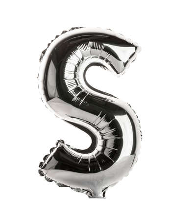 font alphabet: Chrome silver balloon font part of full set upper case letters, S