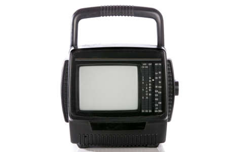 retro portable television set with empty screen isolated . photo