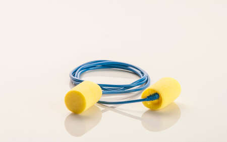audible: A pair of hearing protection ear plugs on a table