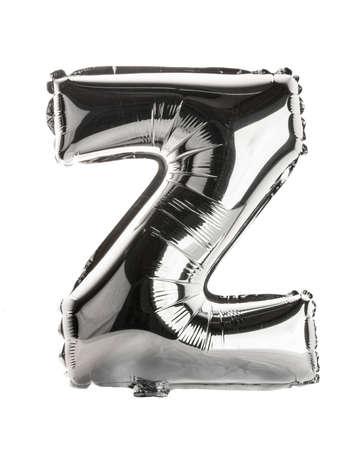 letter z: Chrome silver balloon font part of full set upper case letters, Z