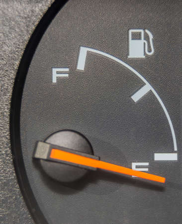 Fuel gauge dash board close up showing empty Stock Photo - 36621355