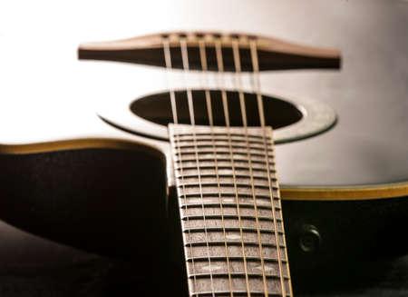 Black Guitar close up Stock Photo