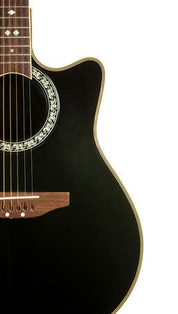 Black Guitar close up  isolated on white