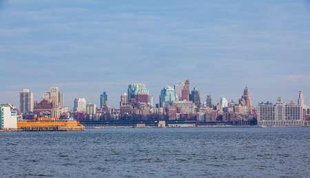 weehawken: New York City with Manhattan skyline viewed from boat