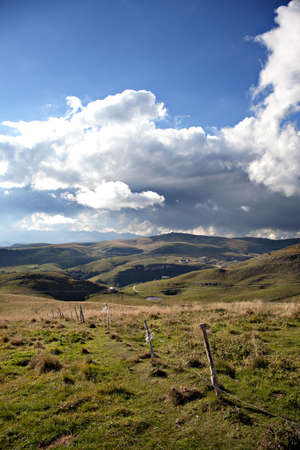 blue sky over a montain landscape, alps region Stock Photo