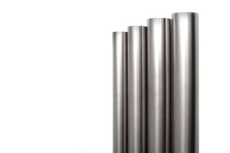 metal pipe: four brushed stainless steel pipes, isolated over white