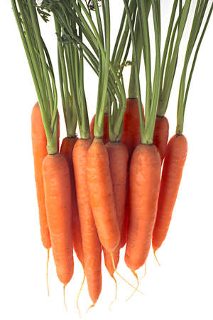 a bunch of fresh carrots, suspended in air, white background