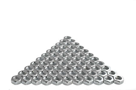 arrow shaped inox nuts, pointing up, isolated over white