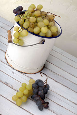 grapes in an old metal bucket, country style