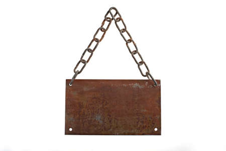an old rusted placard, isolated over white, just add your text