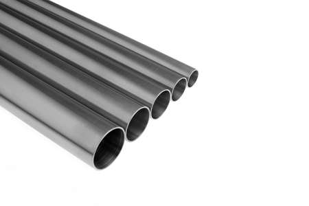 stainless steel pipes diagonal composition Stock Photo
