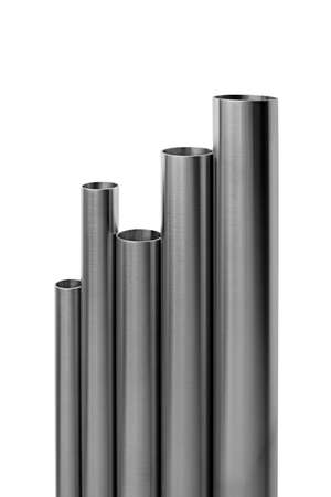 vertical composition: stainless steel pipes, vertical composition