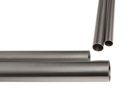 Four brushed steel pipes, isolated over white