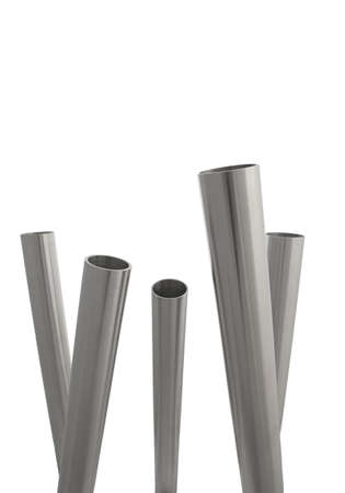 five brushed stainless steel pipes, isolated over white Stock Photo